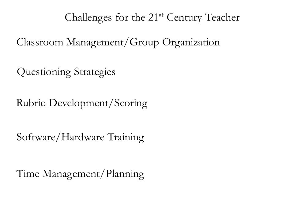 Challenges for the 21 st Century Teacher Classroom Management/Group Organization Questioning Strategies Rubric Development/Scoring Software/Hardware Training Time Management/Planning
