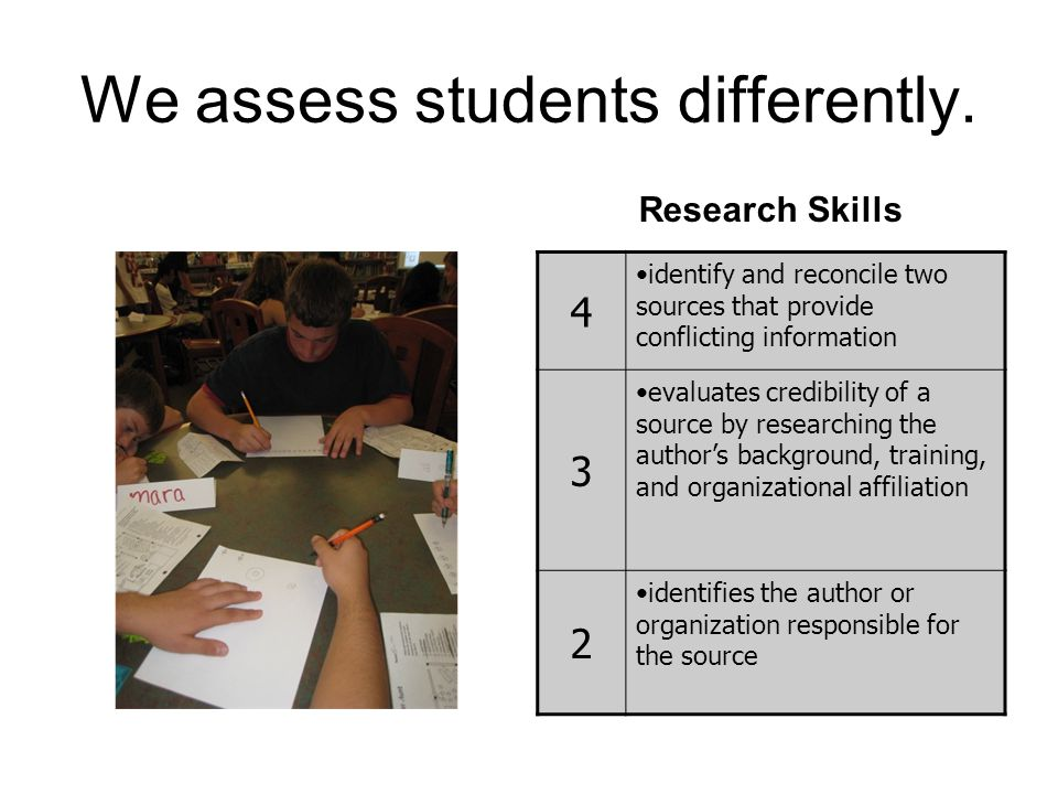 We assess students differently.
