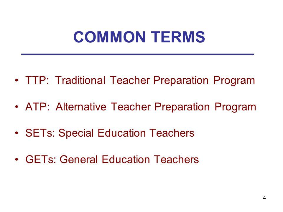 4 COMMON TERMS TTP: Traditional Teacher Preparation Program ATP: Alternative Teacher Preparation Program SETs: Special Education Teachers GETs: General Education Teachers