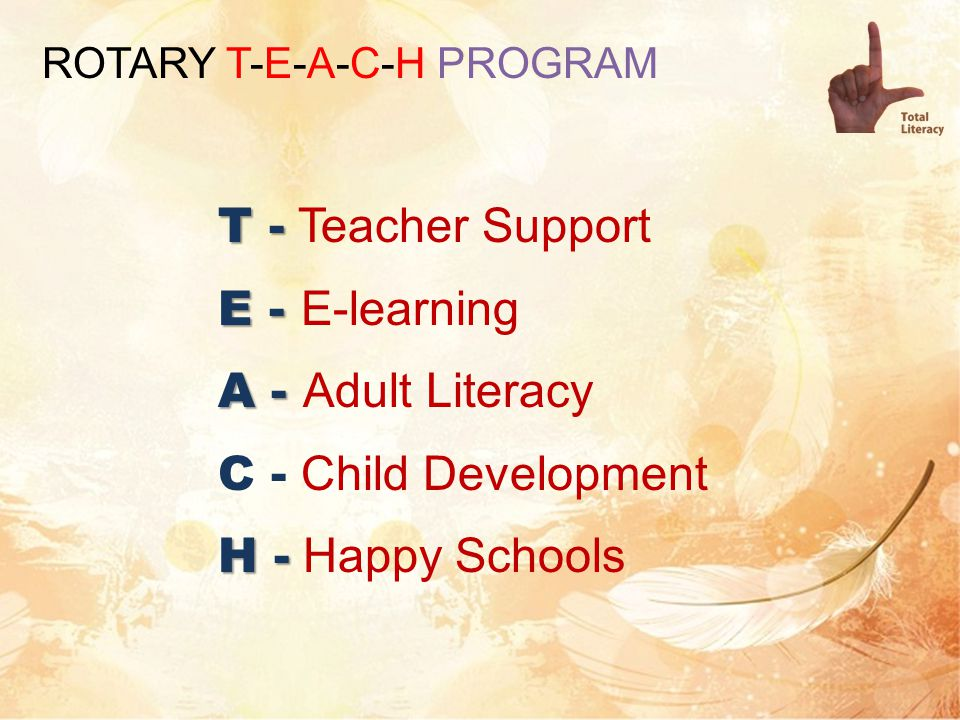 T - T - Teacher Support E - E - E-learning A - A - Adult Literacy C - Child Development H - H - Happy Schools ROTARY T-E-A-C-H PROGRAM
