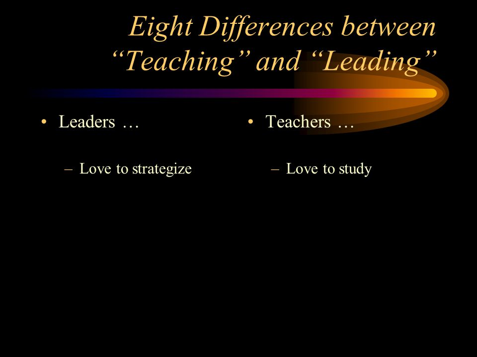Eight Differences between Teaching and Leading Leaders … –Love to strategize Teachers … –Love to study