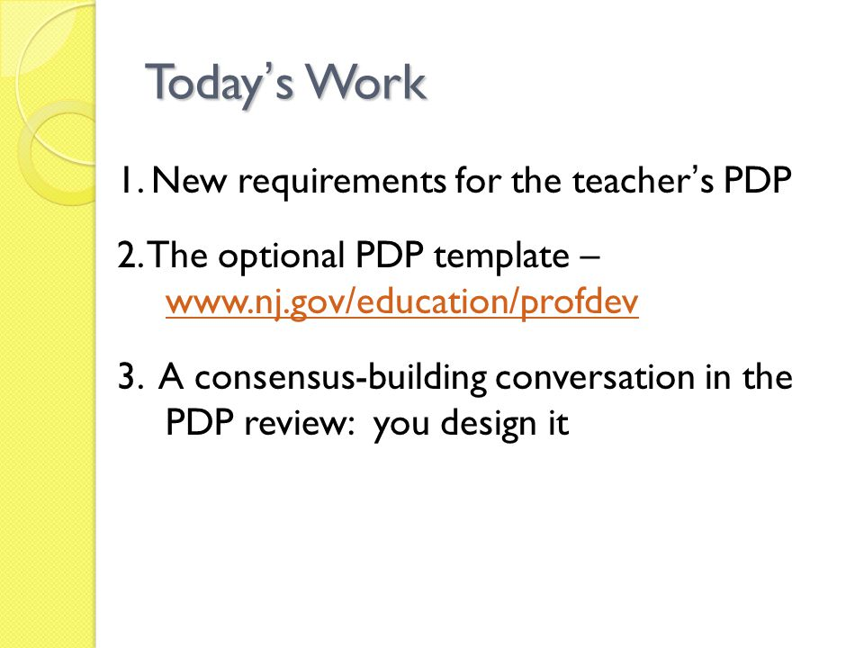New Requirements for Teacher PDP 1.
