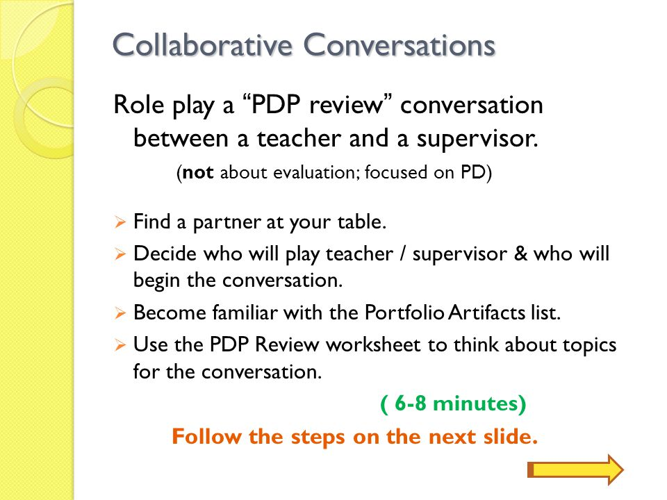 Collaborative Conversations 1) Explain some of the data/artifacts you brought to the review and how they should/can inform the PDP.