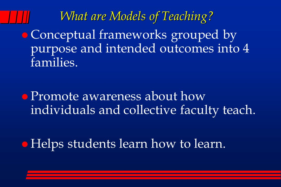 What are Models of Teaching.