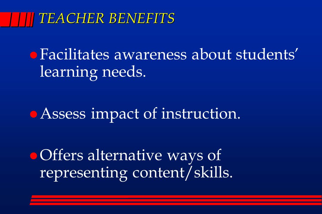 TEACHER BENEFITS Facilitates awareness about students' learning needs.