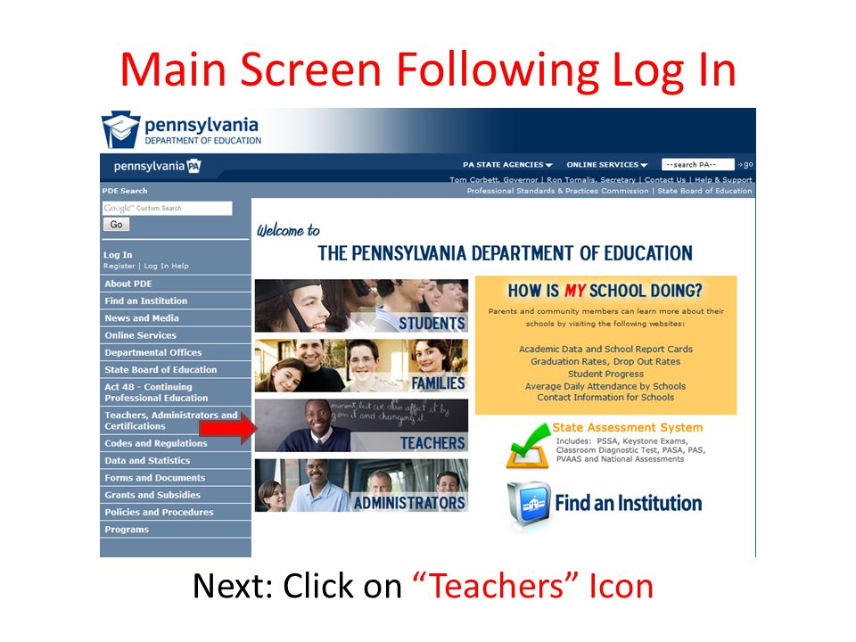 Main Screen Following Log In Next: Click on Teachers Icon