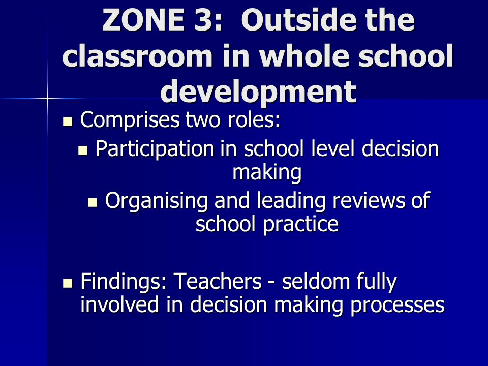 ZONE 3: Outside the classroom in whole school development Comprises two roles: Comprises two roles: Participation in school level decision making Participation in school level decision making Organising and leading reviews of school practice Organising and leading reviews of school practice Findings: Teachers - seldom fully involved in decision making processes Findings: Teachers - seldom fully involved in decision making processes