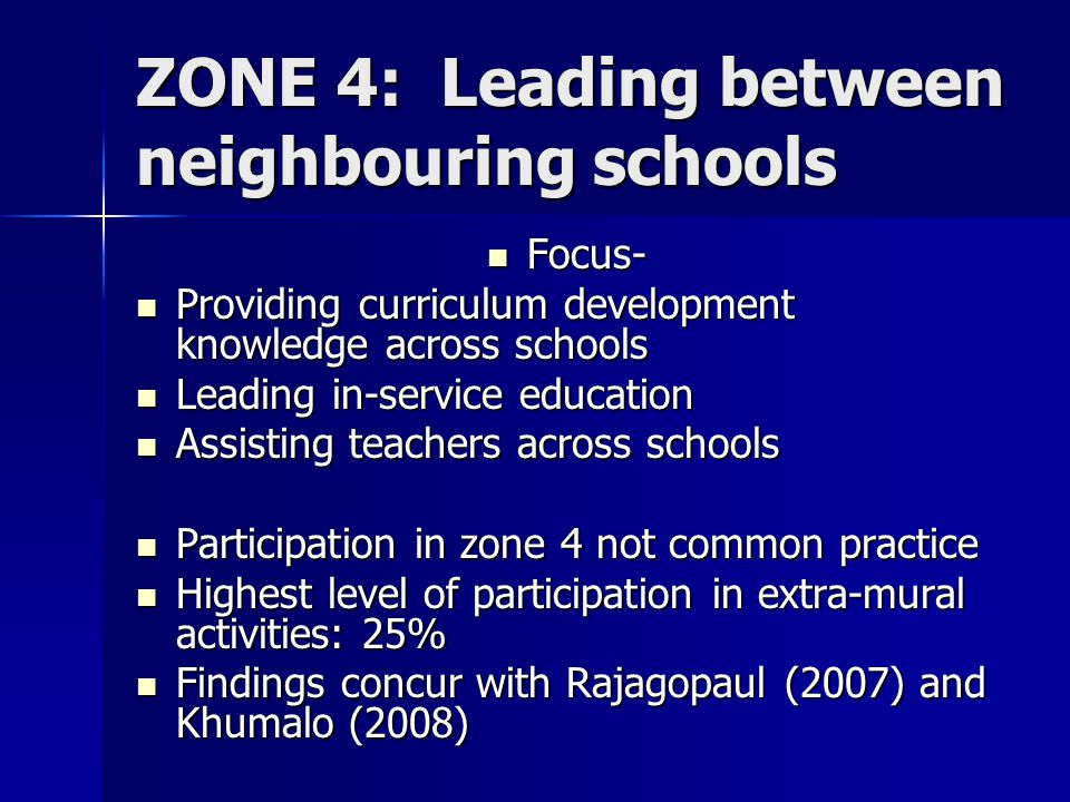 ZONE 4: Leading between neighbouring schools Focus- Focus- Providing curriculum development knowledge across schools Providing curriculum development knowledge across schools Leading in-service education Leading in-service education Assisting teachers across schools Assisting teachers across schools Participation in zone 4 not common practice Participation in zone 4 not common practice Highest level of participation in extra-mural activities: 25% Highest level of participation in extra-mural activities: 25% Findings concur with Rajagopaul (2007) and Khumalo (2008) Findings concur with Rajagopaul (2007) and Khumalo (2008)