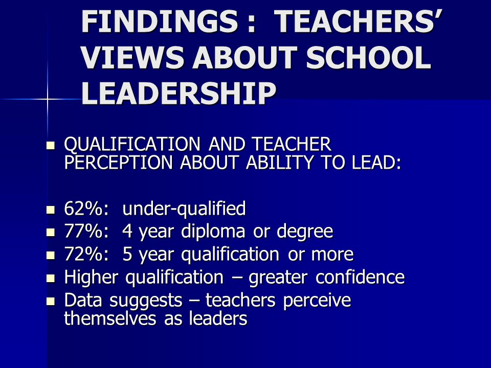 FINDINGS : TEACHERS' VIEWS ABOUT SCHOOL LEADERSHIP QUALIFICATION AND TEACHER PERCEPTION ABOUT ABILITY TO LEAD: QUALIFICATION AND TEACHER PERCEPTION ABOUT ABILITY TO LEAD: 62%: under-qualified 62%: under-qualified 77%: 4 year diploma or degree 77%: 4 year diploma or degree 72%: 5 year qualification or more 72%: 5 year qualification or more Higher qualification – greater confidence Higher qualification – greater confidence Data suggests – teachers perceive themselves as leaders Data suggests – teachers perceive themselves as leaders