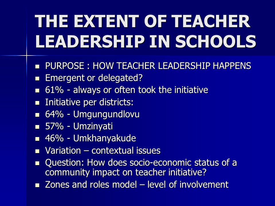 THE EXTENT OF TEACHER LEADERSHIP IN SCHOOLS PURPOSE : HOW TEACHER LEADERSHIP HAPPENS PURPOSE : HOW TEACHER LEADERSHIP HAPPENS Emergent or delegated.