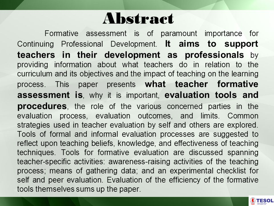 Abstract Formative assessment is of paramount importance for Continuing Professional Development.