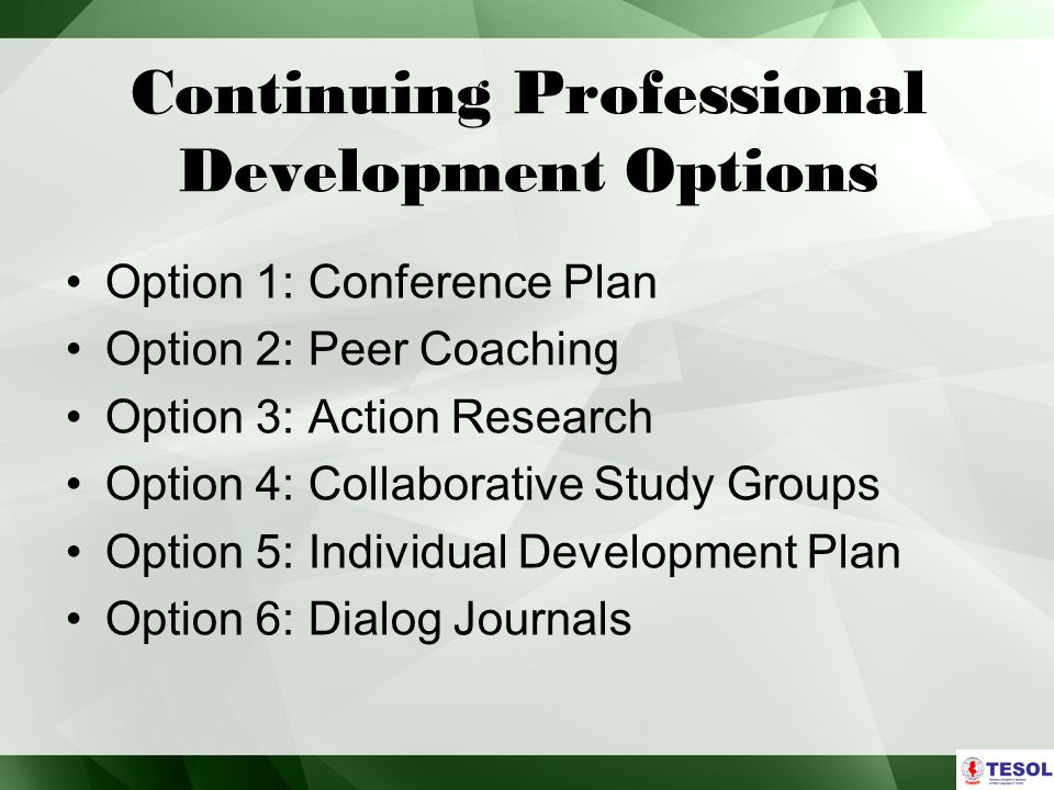 Continuing Professional Development Options Option 1: Conference Plan Option 2: Peer Coaching Option 3: Action Research Option 4: Collaborative Study Groups Option 5: Individual Development Plan Option 6: Dialog Journals