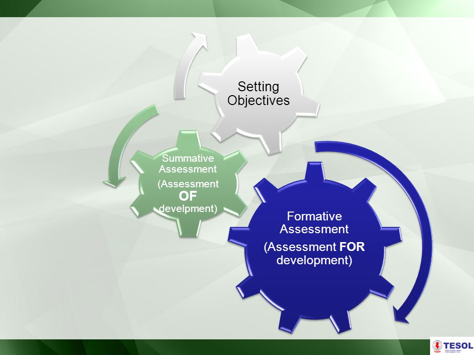 Formative Assessment (Assessment FOR development) Summative Assessment (Assessment OF develpment) Setting Objectives