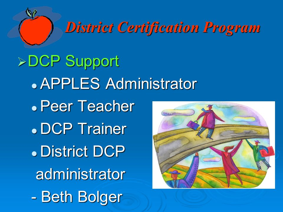 District Certification Program  DCP Support APPLES Administrator APPLES Administrator Peer Teacher Peer Teacher DCP Trainer DCP Trainer District DCP