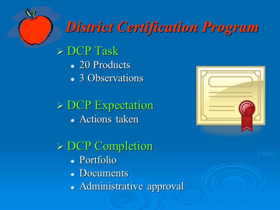 District Certification Program  DCP Task 20 Products 20 Products 3 Observations 3 Observations  DCP Expectation Actions taken Actions taken  DCP Co