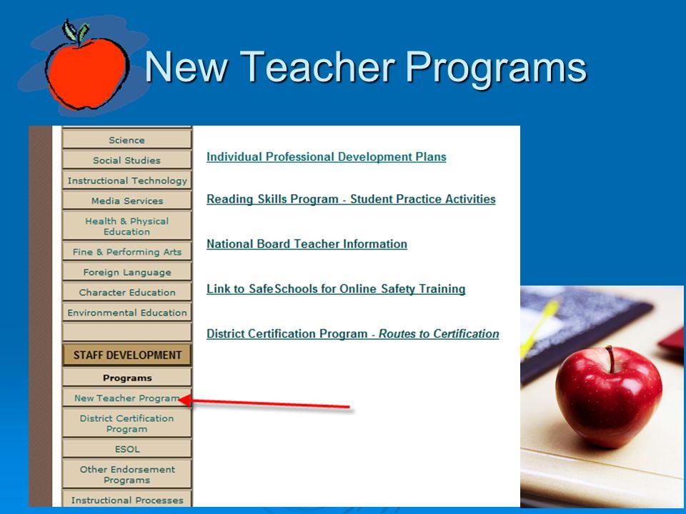New Teacher Programs