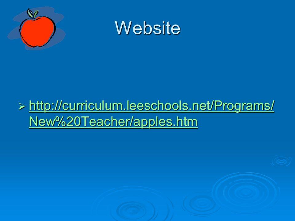 Website  http://curriculum.leeschools.net/Programs/ New%20Teacher/apples.htm http://curriculum.leeschools.net/Programs/ New%20Teacher/apples.htm http