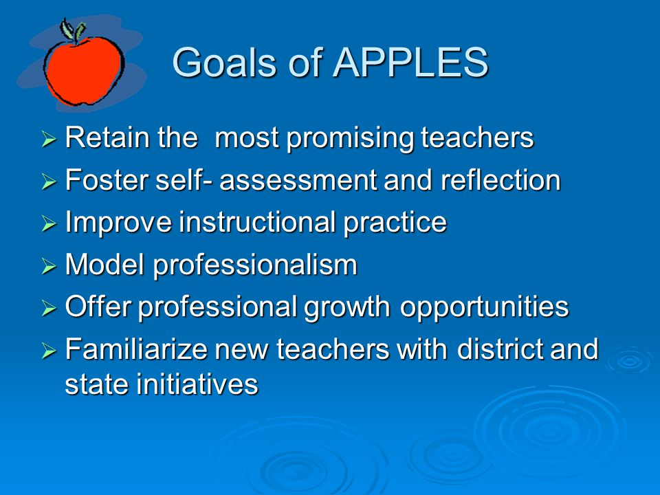 Goals of APPLES  Retain the most promising teachers  Foster self- assessment and reflection  Improve instructional practice  Model professionalism  Offer professional growth opportunities  Familiarize new teachers with district and state initiatives