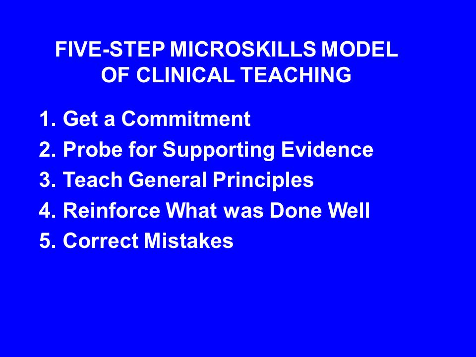 FIVE-STEP MICROSKILLS MODEL OF CLINICAL TEACHING 1.Get a Commitment 2.Probe for Supporting Evidence 3.Teach General Principles 4.Reinforce What was Done Well 5.Correct Mistakes