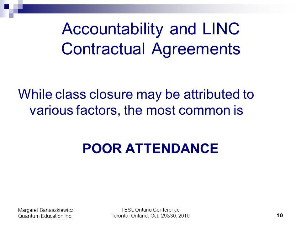 TESL Ontario Conference Toronto, Ontario, Oct. 29&30, 2010 10 Margaret Banaszkiewicz Quantum Education Inc. Accountability and LINC Contractual Agreem