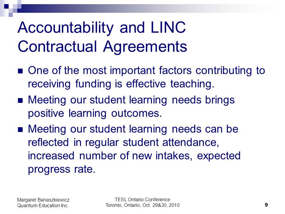 TESL Ontario Conference Toronto, Ontario, Oct. 29&30, 2010 9 Margaret Banaszkiewicz Quantum Education Inc. Accountability and LINC Contractual Agreeme