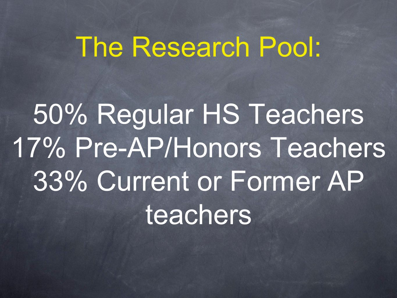 The Research Pool: 50% Regular HS Teachers 17% Pre-AP/Honors Teachers 33% Current or Former AP teachers
