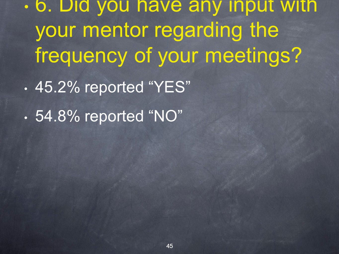 6. Did you have any input with your mentor regarding the frequency of your meetings.