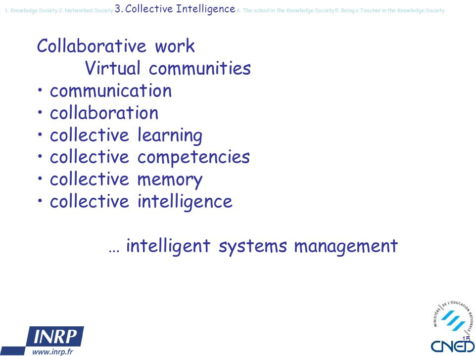 15 Collaborative work Virtual communities communication collaboration collective learning collective competencies collective memory collective intelligence … intelligent systems management 1.