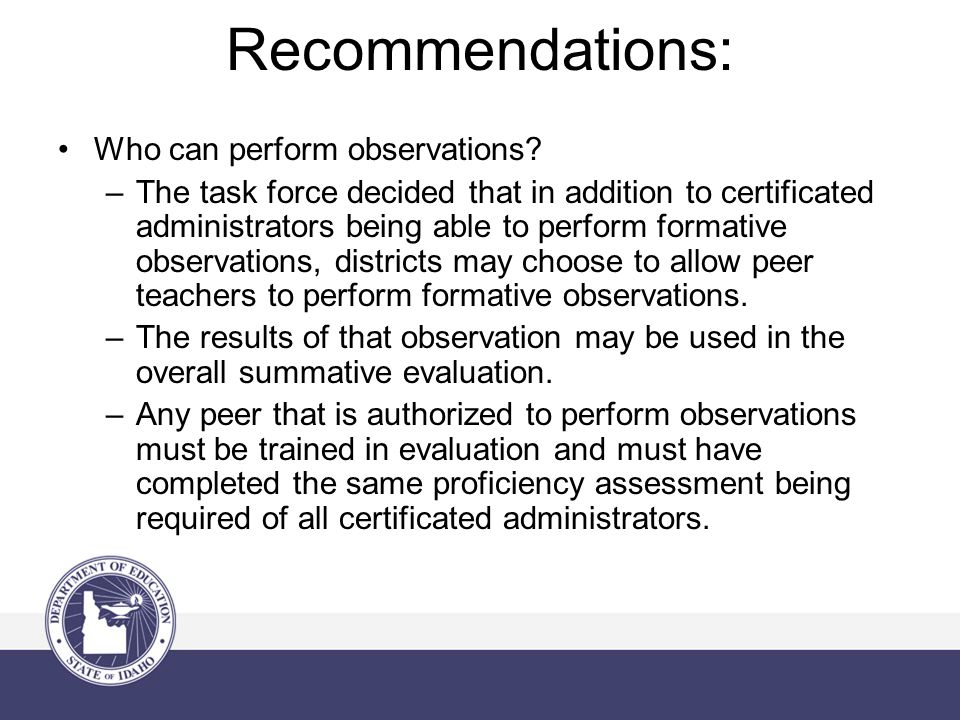 Recommendations: Who can perform observations.