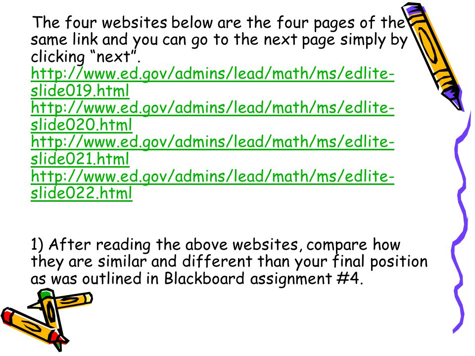 The four websites below are the four pages of the same link and you can go to the next page simply by clicking next .