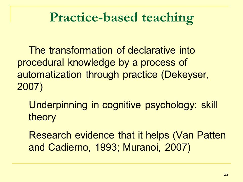22 Practice-based teaching The transformation of declarative into procedural knowledge by a process of automatization through practice (Dekeyser, 2007) Underpinning in cognitive psychology: skill theory Research evidence that it helps (Van Patten and Cadierno, 1993; Muranoi, 2007)