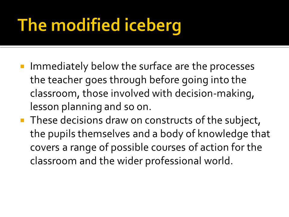 Immediately below the surface are the processes the teacher goes through before going into the classroom, those involved with decision-making, lesso