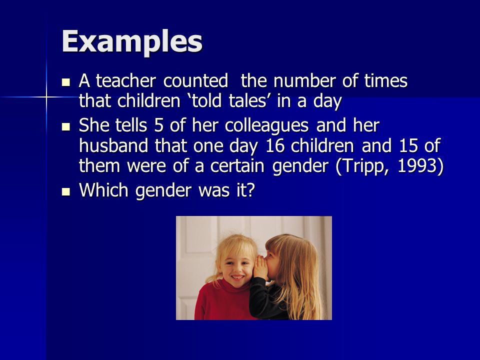 They all assumed that the 15 children were girls when it was in fact the opposite They all assumed that the 15 children were girls when it was in fact the opposite The adults' perceptions were gender biased; this type of misconception has long term self-fulfilling effects The adults' perceptions were gender biased; this type of misconception has long term self-fulfilling effects This leads to judgments of adults, such as women gossip and men discuss This leads to judgments of adults, such as women gossip and men discuss Girls are taught to perform according to gender bias on the part of adults, including teachers Girls are taught to perform according to gender bias on the part of adults, including teachers