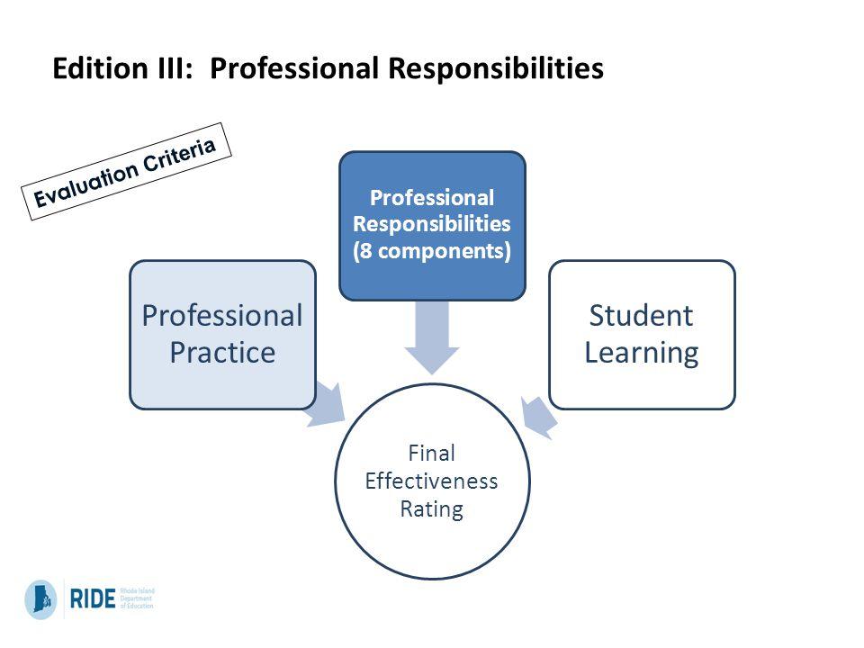 Edition III: Professional Responsibilities Final Effectiveness Rating Professional Practice Professional Responsibilities (8 components) Student Learn