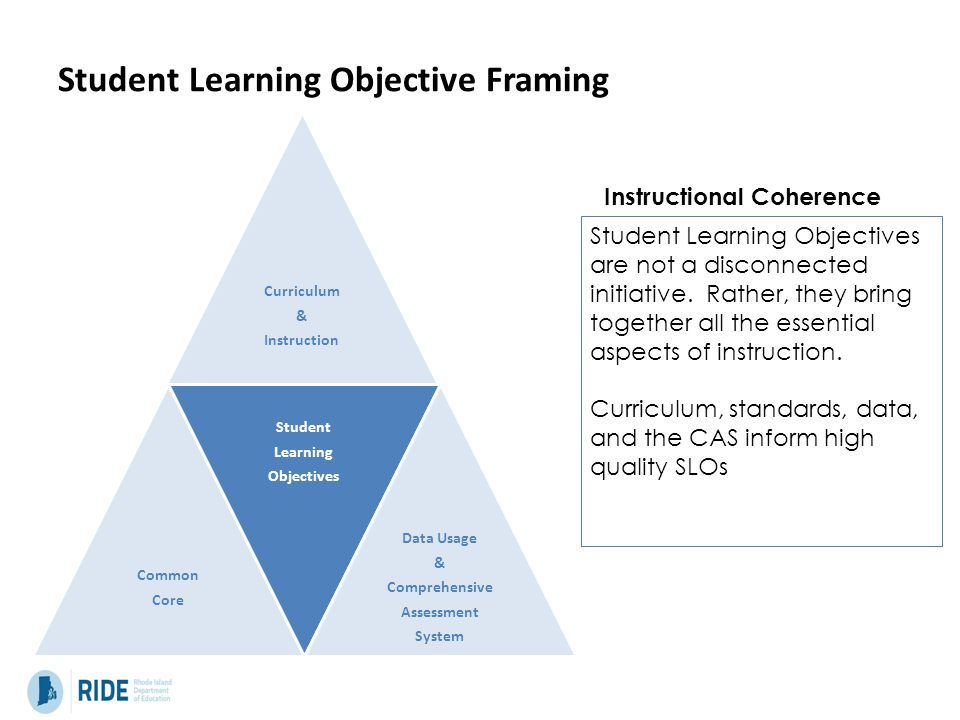 Student Learning Objective Framing Curriculum & Instruction Common Core Student Learning Objectives Data Usage & Comprehensive Assessment System Student Learning Objectives are not a disconnected initiative.