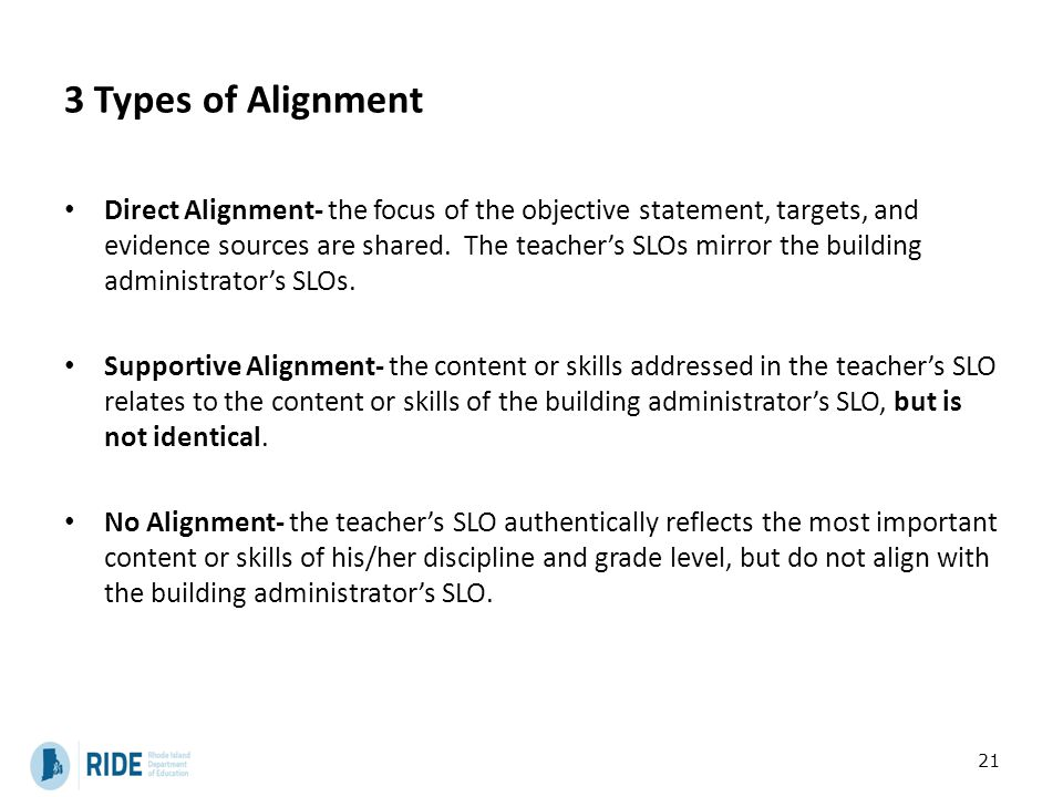 3 Types of Alignment Direct Alignment- the focus of the objective statement, targets, and evidence sources are shared. The teacher's SLOs mirror the b