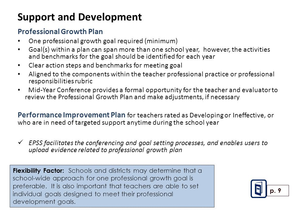Support and Development Professional Growth Plan One professional growth goal required (minimum) Goal(s) within a plan can span more than one school year, however, the activities and benchmarks for the goal should be identified for each year Clear action steps and benchmarks for meeting goal Aligned to the components within the teacher professional practice or professional responsibilities rubric Mid-Year Conference provides a formal opportunity for the teacher and evaluator to review the Professional Growth Plan and make adjustments, if necessary Performance Improvement Plan for teachers rated as Developing or Ineffective, or who are in need of targeted support anytime during the school year EPSS facilitates the conferencing and goal setting processes, and enables users to upload evidence related to professional growth plan p.