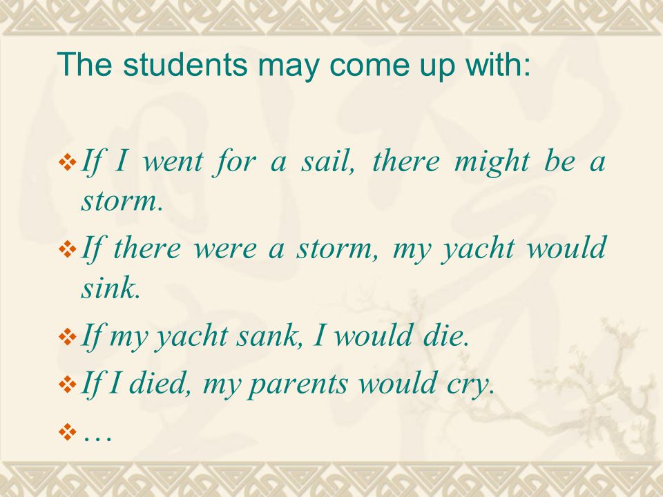 The students may come up with:  If I went for a sail, there might be a storm.  If there were a storm, my yacht would sink.  If my yacht sank, I wou