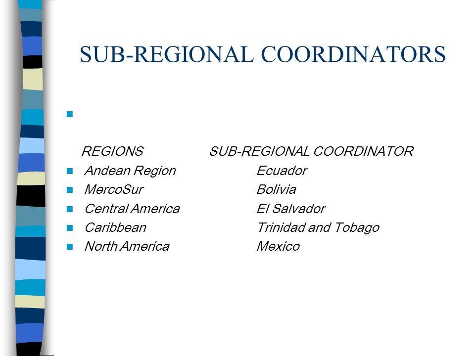 SUB-REGIONAL COORDINATORS REGIONS SUB-REGIONAL COORDINATOR Andean RegionEcuador MercoSurBolivia Central AmericaEl Salvador CaribbeanTrinidad and Tobago North AmericaMexico