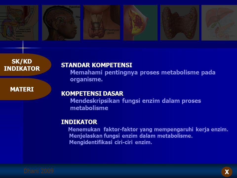 Dhani 2009 STANDAR KOMPETENSI Memahami pentingnya proses metabolisme pada organisme. KOMPETENSI DASAR Mendeskripsikan fungsi enzim dalam proses metabo