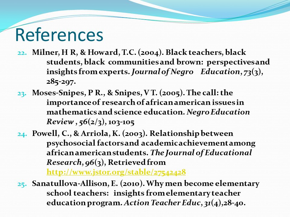 References 22. Milner, H R, & Howard, T.C. (2004).