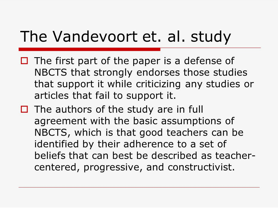 The Vandevoort et. al.