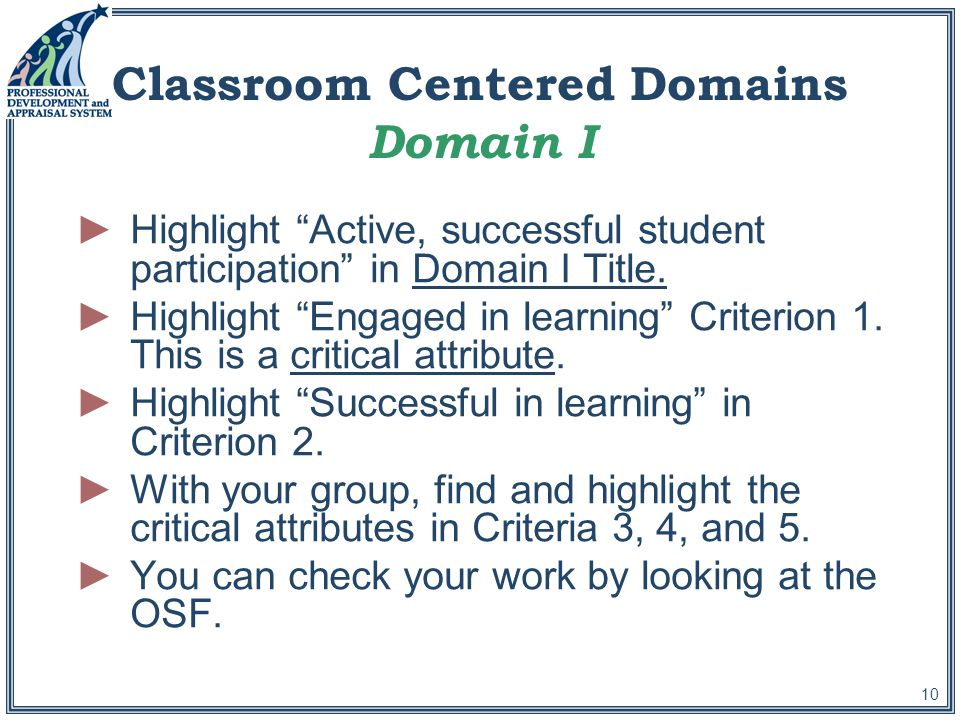 10 Classroom Centered Domains Domain I ►Highlight Active, successful student participation in Domain I Title.