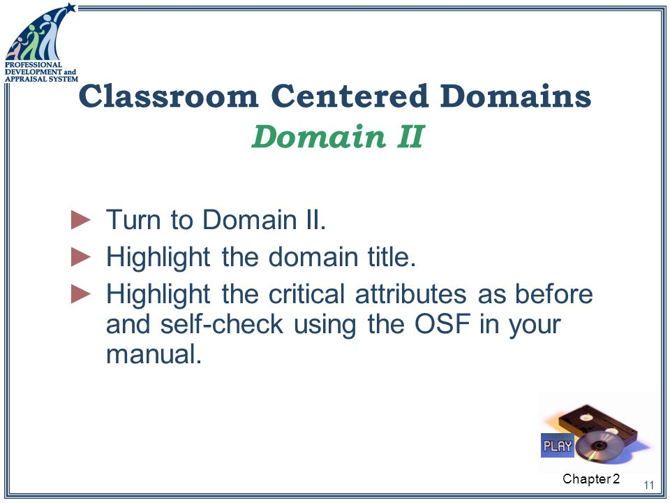 11 Classroom Centered Domains Domain II ►Turn to Domain II.