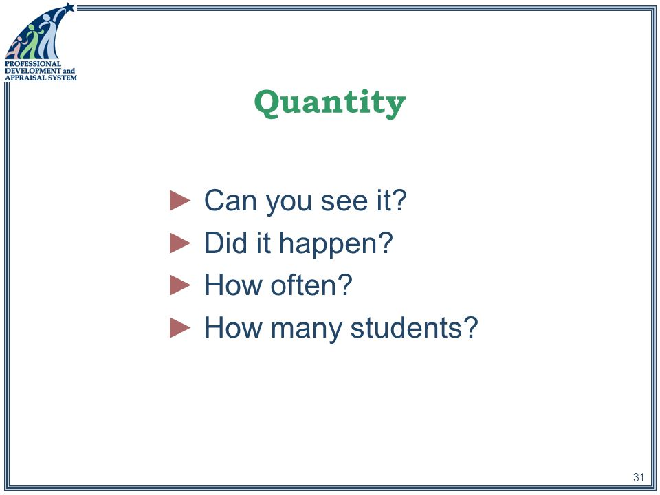 31 Quantity ►Can you see it ►Did it happen ►How often ►How many students