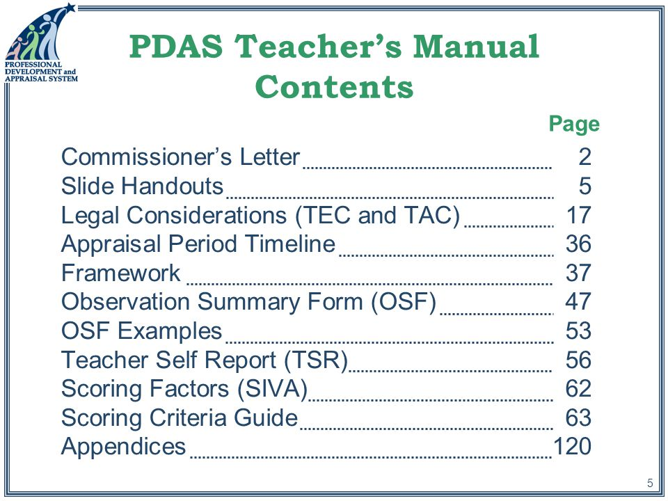 5 PDAS Teacher's Manual Contents Commissioner's Letter2 Slide Handouts5 Legal Considerations (TEC and TAC)17 Appraisal Period Timeline36 Framework37 Observation Summary Form (OSF) 47 OSF Examples53 Teacher Self Report (TSR)56 Scoring Factors (SIVA)62 Scoring Criteria Guide63 Appendices120 Page