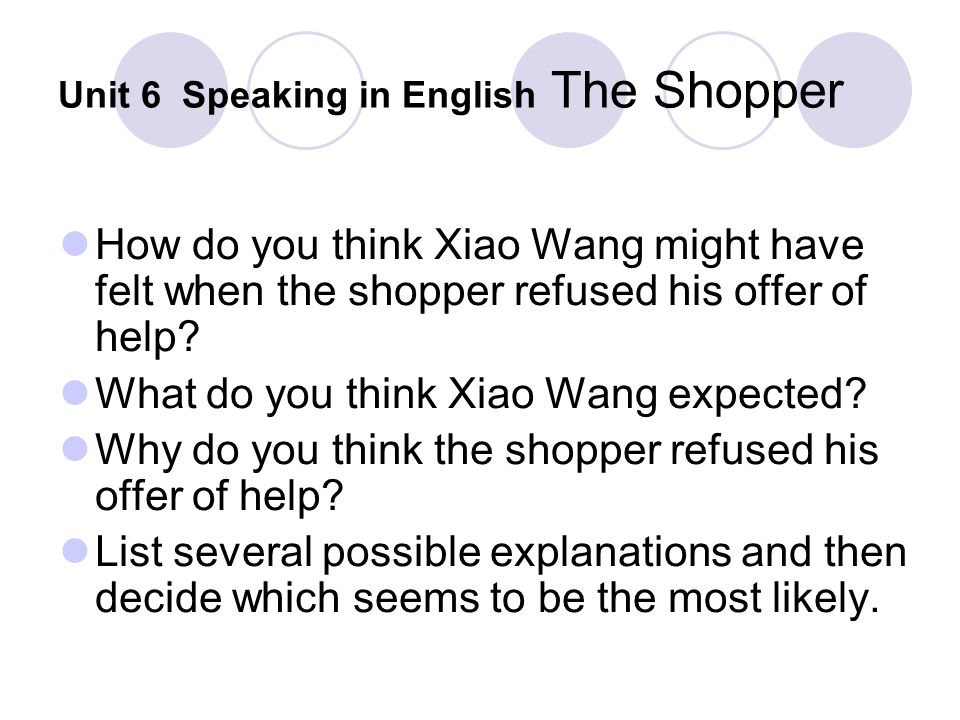 Unit 6 Speaking in English The Shopper How do you think Xiao Wang might have felt when the shopper refused his offer of help? What do you think Xiao W