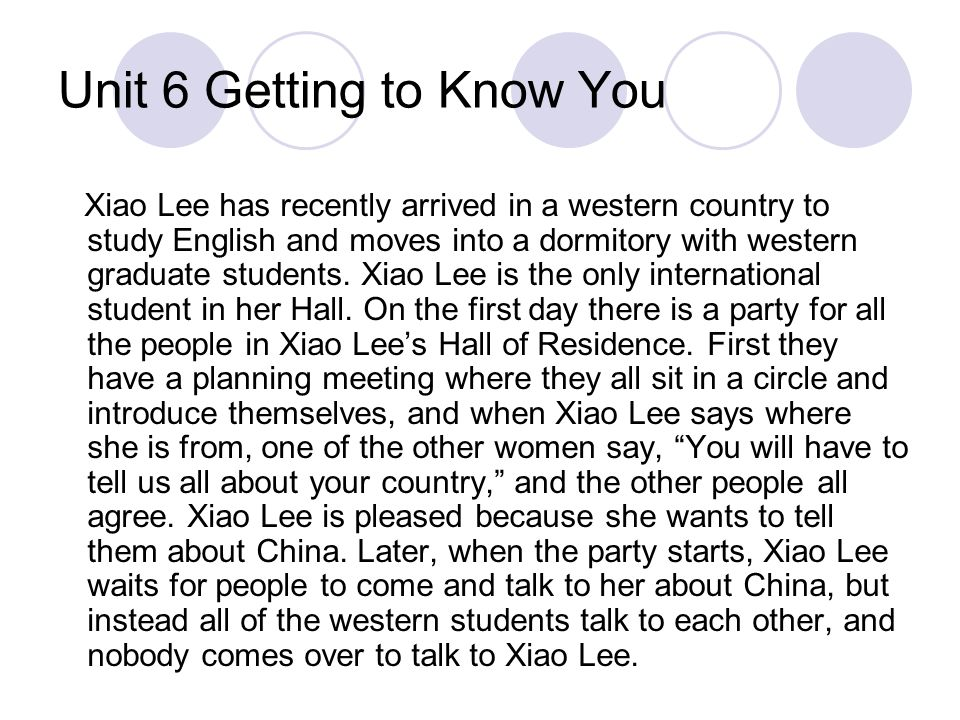 Unit 6 Getting to Know You Xiao Lee has recently arrived in a western country to study English and moves into a dormitory with western graduate studen