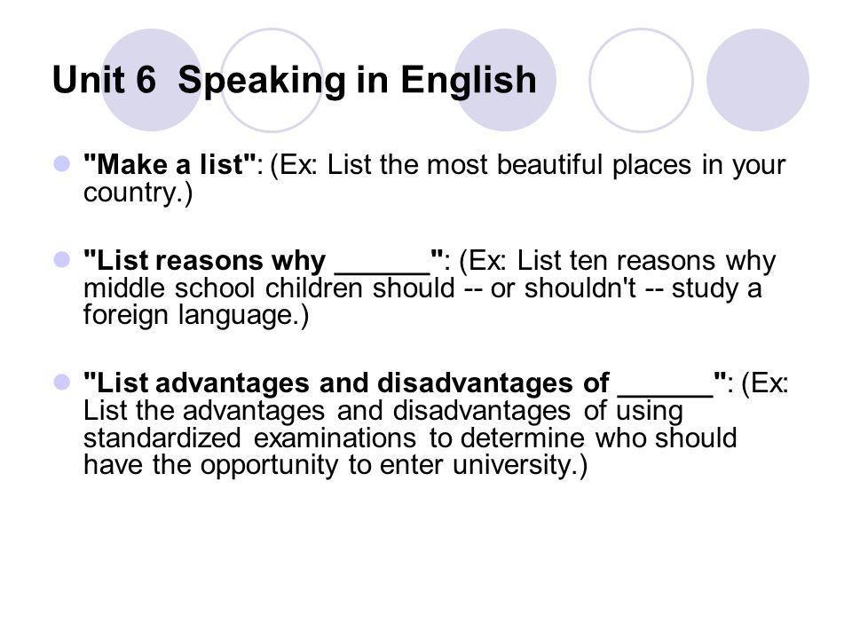 Unit 6 Speaking in English