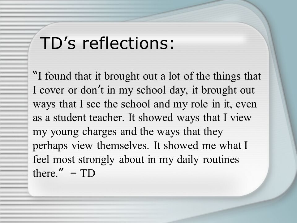 """TD's reflections: """" I found that it brought out a lot of the things that I cover or don ' t in my school day, it brought out ways that I see the schoo"""